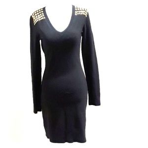 Michael Kors Fitted Sweater Dress Black holiday